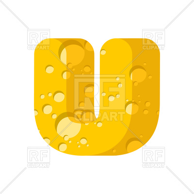 400x400 Letter U Cheese Font Royalty Free Vector Clip Art Image