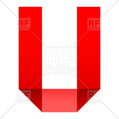 400x400 Alphabet Of Folded Red Paper Letter U Royalty Free Vector Clip Art