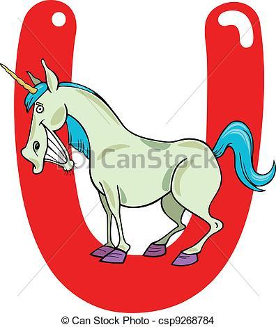 396x470 U For Unicorn. Cartoon Illustration Of U Letter For Unicorn Eps