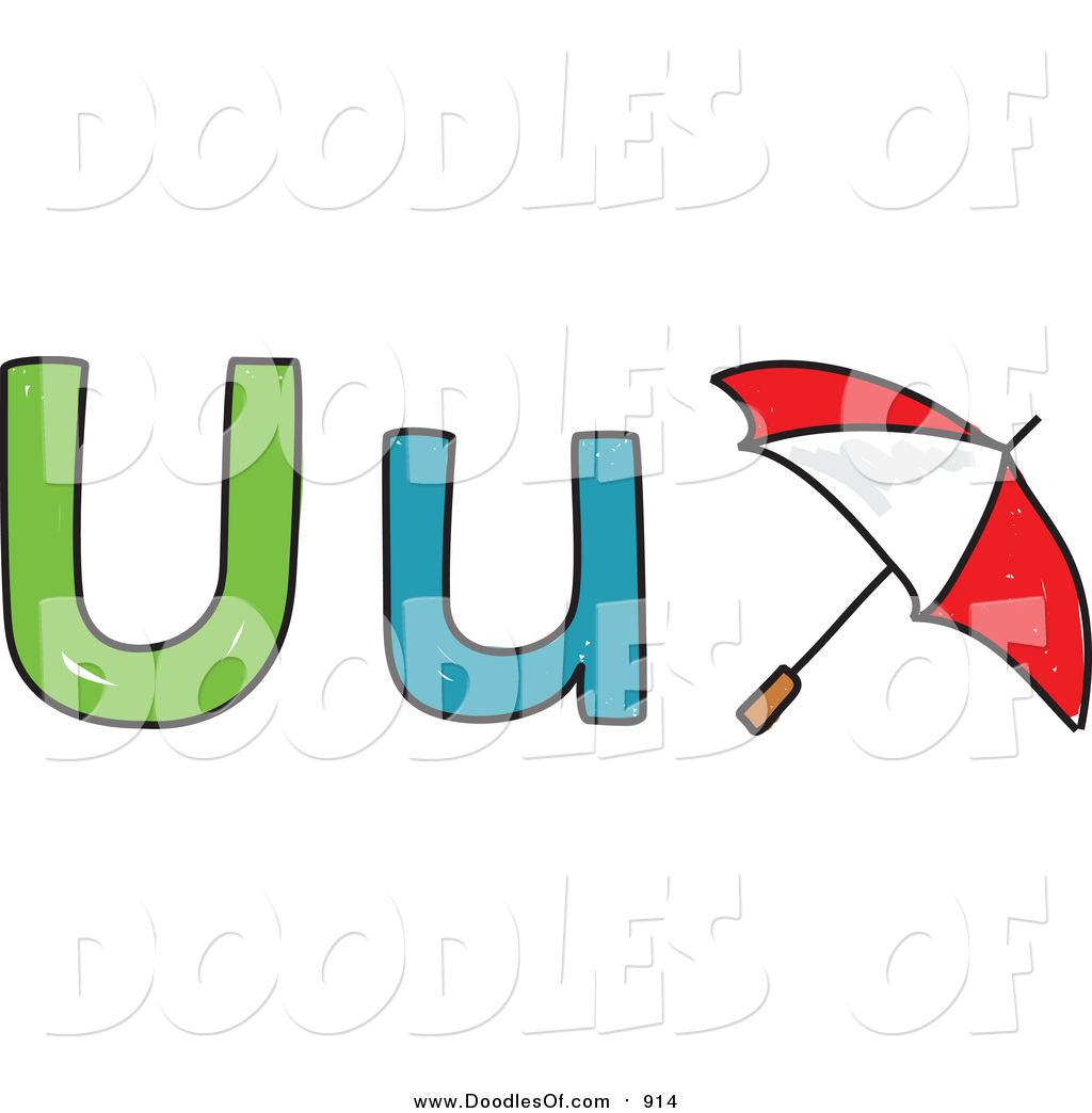 1024x1044 Vector Clipart Of Doodled Lowercasend Capital Letter U