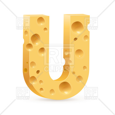 400x400 Cheese Font, Letter U Royalty Free Vector Clip Art Image