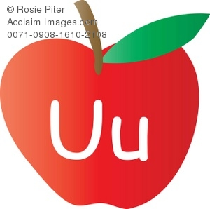 300x298 Clip Art Illustration Of An Apple With The Letter U Written On It