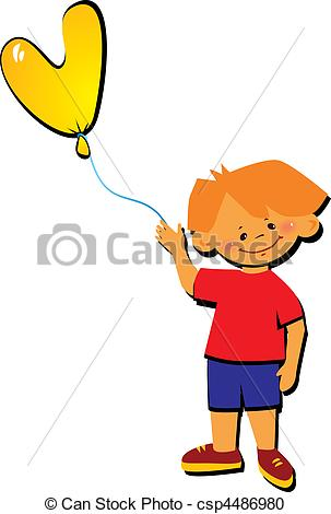 303x470 Boy With Letter V. Friendly Little Boy With Balloon In