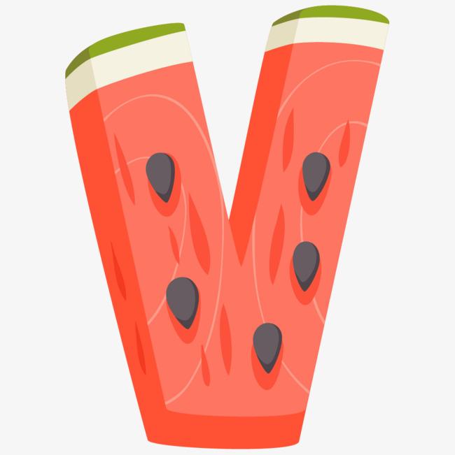 650x651 Cartoon Vegetable Fruit Letter V, Cartoon Letters, Hand Painted