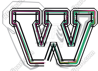 400x289 Color Line Font Illustration Letter W Royalty Free Vector Clip Art