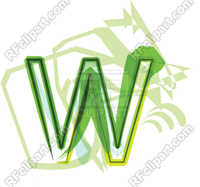 400x374 Green Organic Font Letter W Royalty Free Vector Clip Art Image