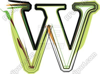 400x299 Organic Type Letter W Royalty Free Vector Clip Art Image