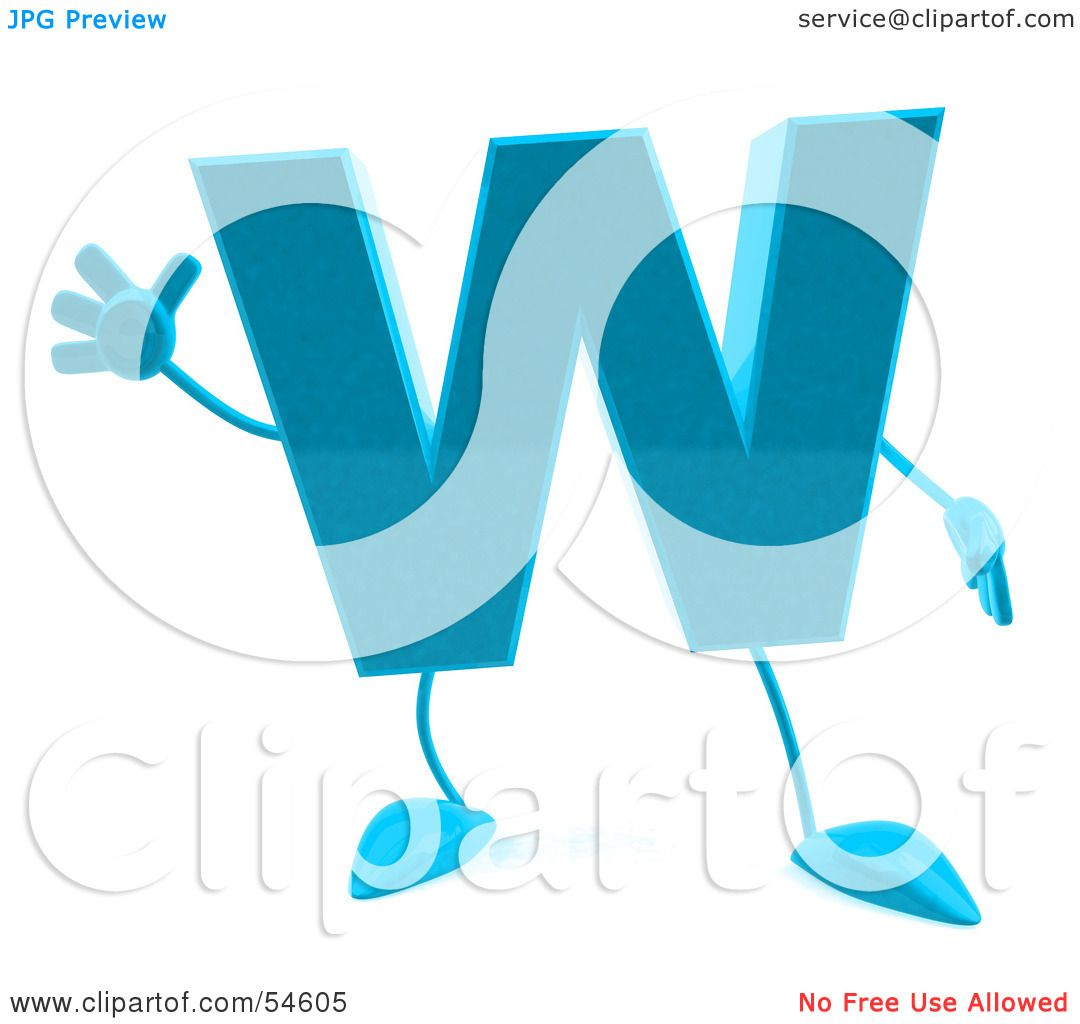 1080x1024 Royalty Free (Rf) Clipart Illustration Of A 3d Blue Letter W