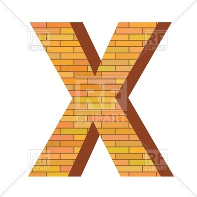 400x400 Font With Brick Wall Texture, Letter X Royalty Free Vector Clip