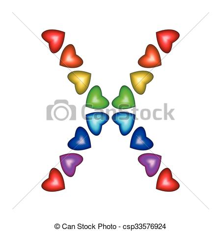 450x470 Letter X Made Of Multicolored Hearts On White Background Vector