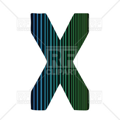400x400 Striped Letter X Royalty Free Vector Clip Art Image