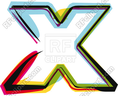 400x325 Abstract Colorful Letter X Royalty Free Vector Clip Art Image