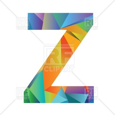 400x400 Motley Polygonal Font, Letter Z Royalty Free Vector Clip Art Image