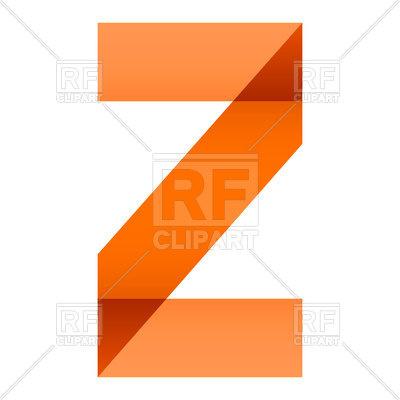 400x400 Orange Folded Letter Z On White Background Royalty Free Vector