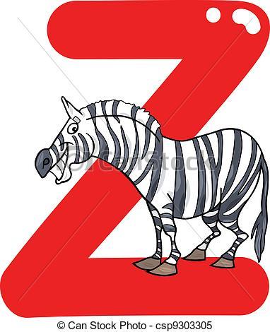 382x470 Z For Zebra. Cartoon Illustration Of Z Letter For Zebra Clipart