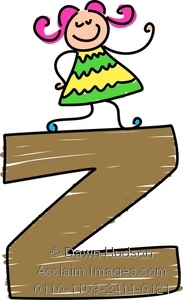 183x300 Clipart Image Of A Happy Little Girl Climbing Over A Giant Letter Z