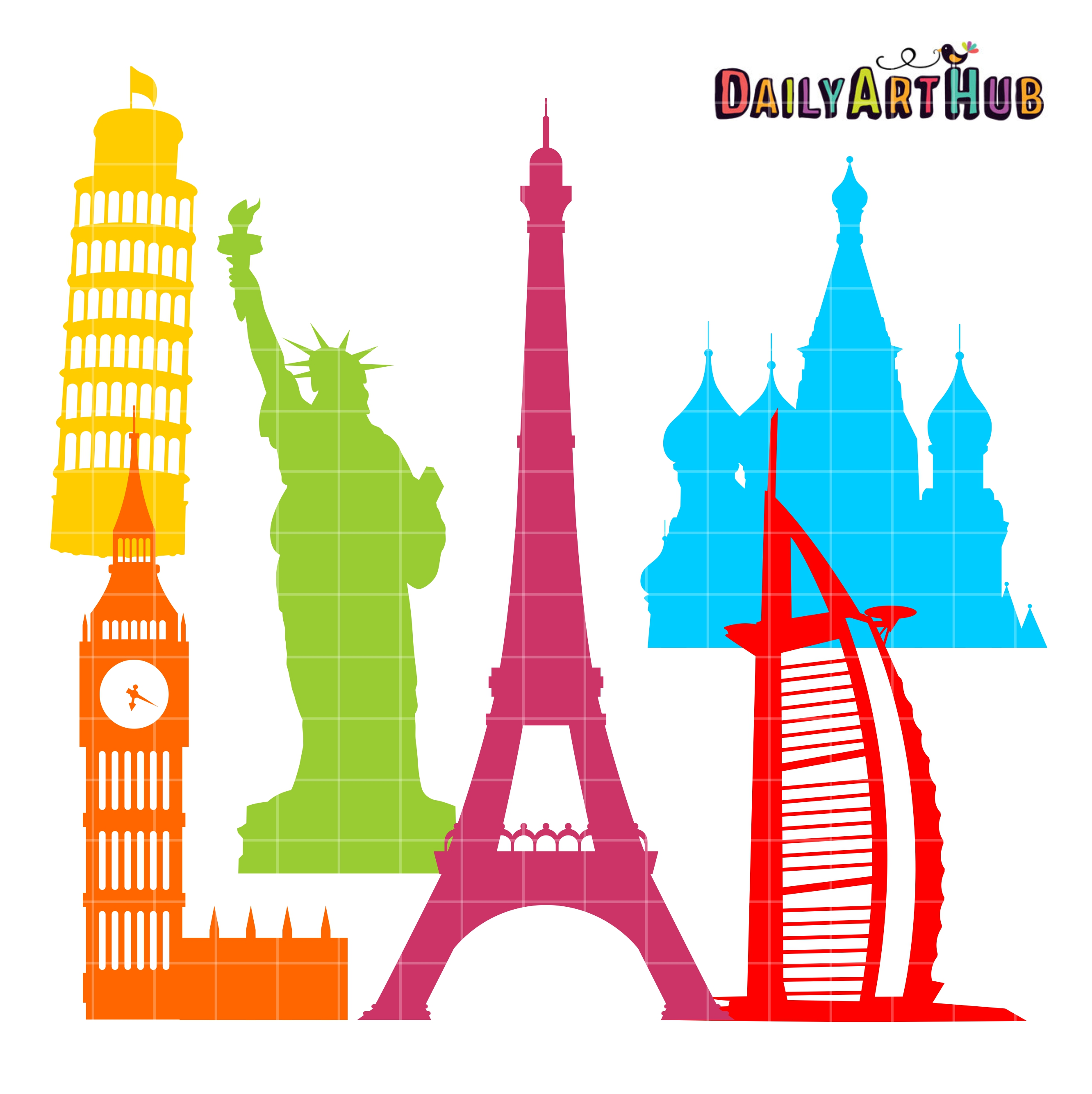 2664x2670 World Landmarks Silhouettes Clip Art Set Daily Art Hub Free