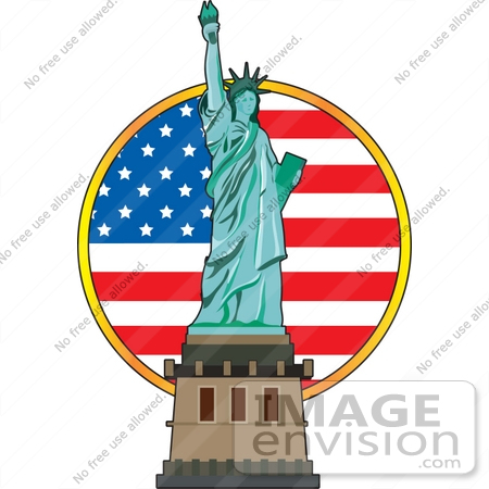 450x450 Clip Art Graphic A Circular American Flag Behind The Statue