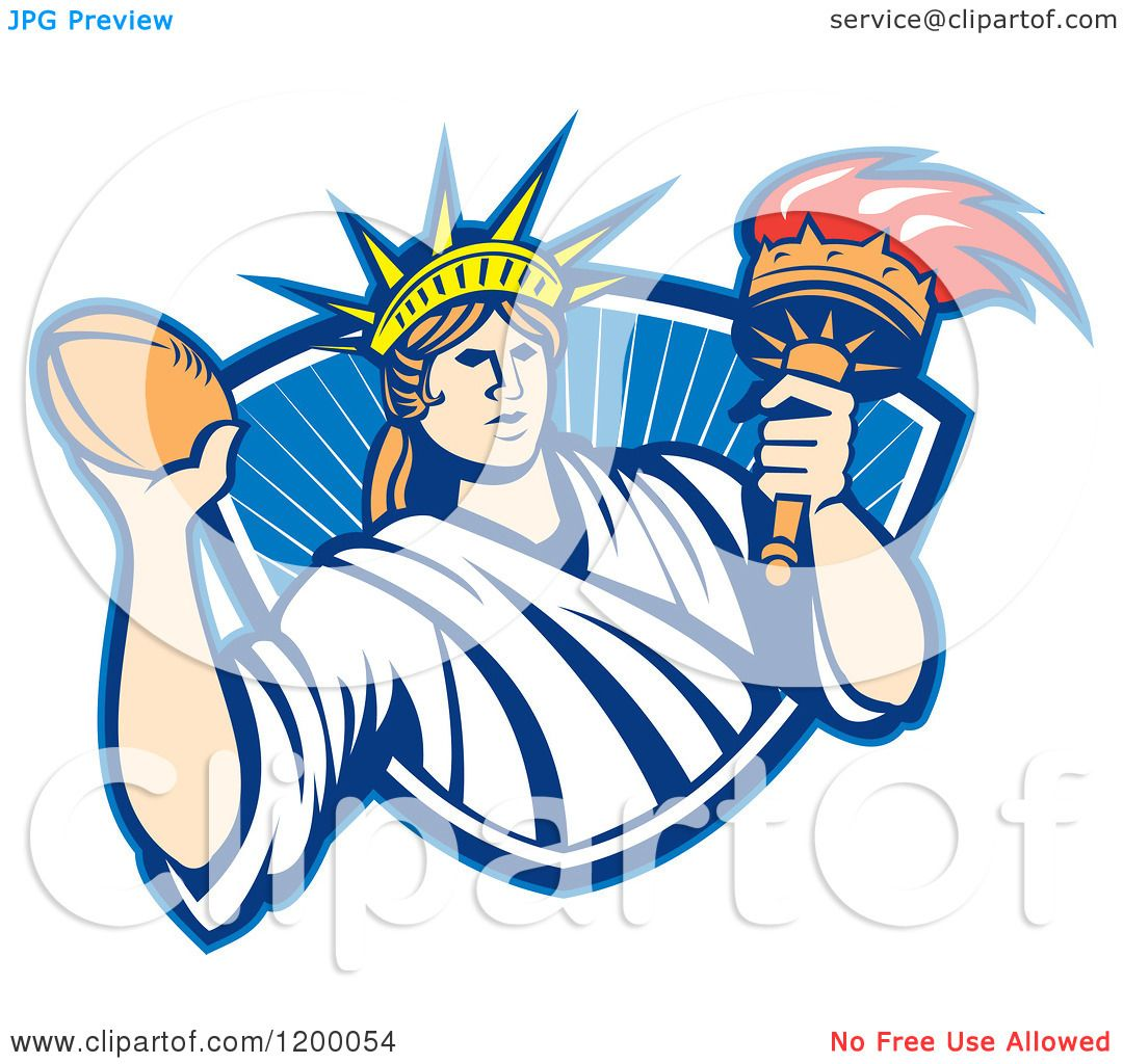 1080x1024 Clipart Of A Retro Statue Of Liberty Holding A Football And Torch