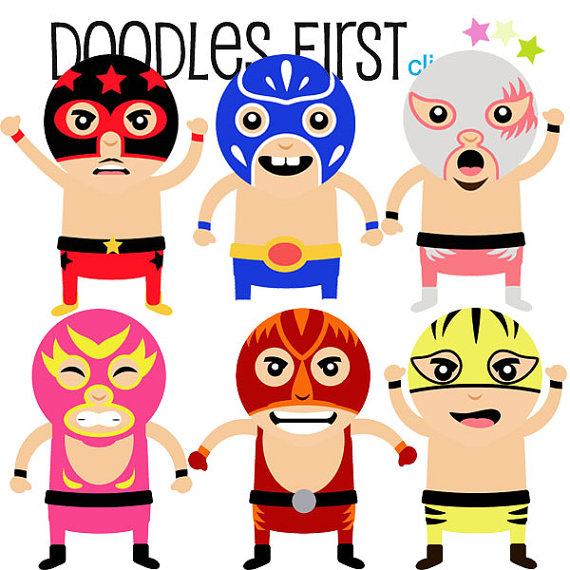 570x570 Lucha Libra Wrestlers Digital Clip Art For By Doodlesfirst On Etsy