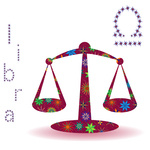 150x150 Zodiac Sign Of Libra With Colorful Flowers On Starry Background