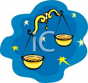 300x286 Clip Art Image Golden Libra Scales On A Starry Night