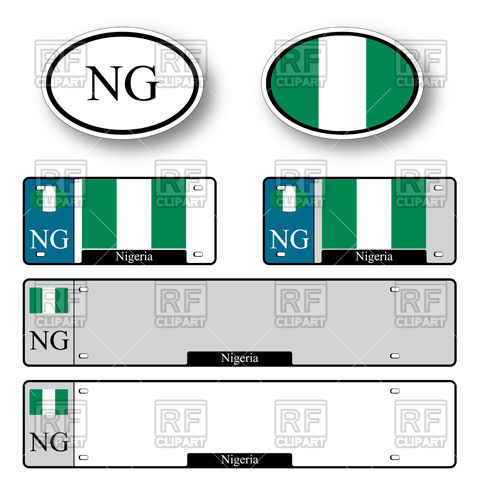 480x480 Template Of Car Plate Number With Flag Of Nigeria And Oval Bumper