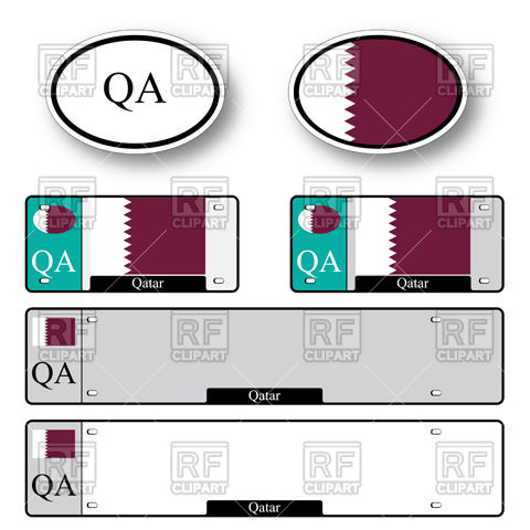 480x480 Template Of Car Plate Number With Flag Of Qatar And Oval Bumper
