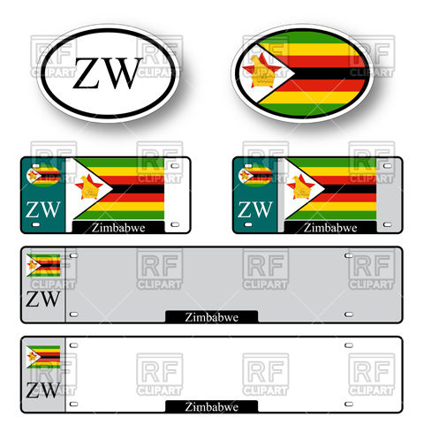 480x480 Template Of Car Plate Number With Flag Of Zimbabwe And Oval Bumper