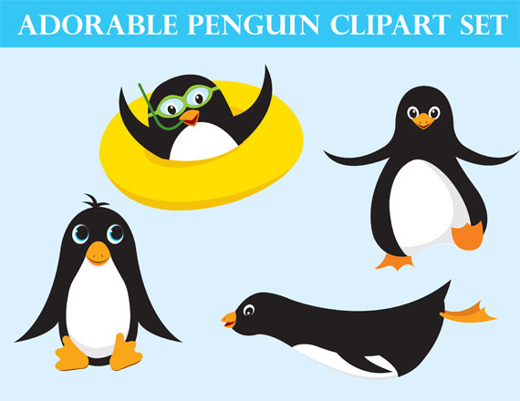570x440 Cute Penguin Clipart Ocean Animals Instant Download Instant
