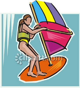 275x300 A Woman Wearing A Life Jacket And Windsurfing Royalty Free Clipart