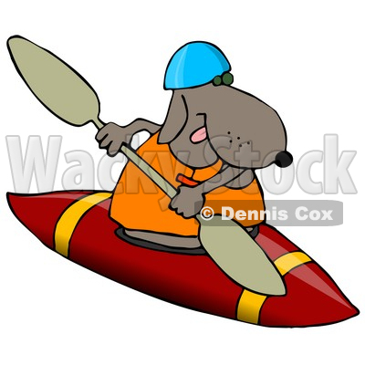 400x400 Sporty Dog Wearing A Life Jacket And Kayaking Clipart Illustration