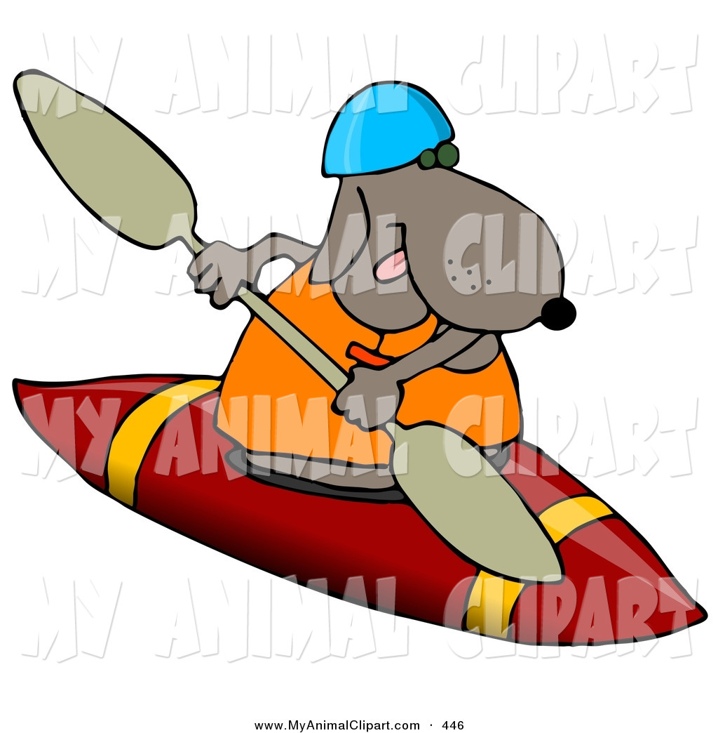 1024x1044 Clip Art Of An Athletic Dog Wearing A Life Jacket And Kayaking By