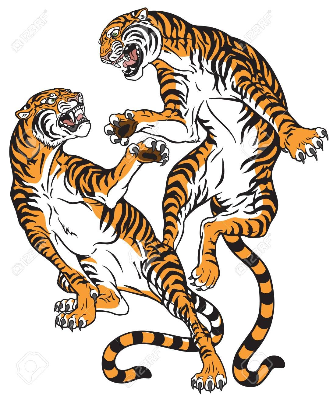 1093x1300 Pair Of Tigers In The Battle, Two Fighting Big Cats. Tattoo Style
