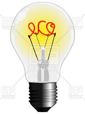 300x400 Eco Light Bulb With Filament Royalty Free Vector Clip Art Image