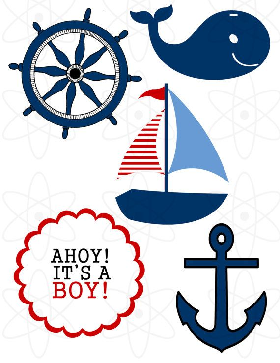 570x738 Digital Nautical Clip Art Boat Lighthouse Whale Anchor Themed