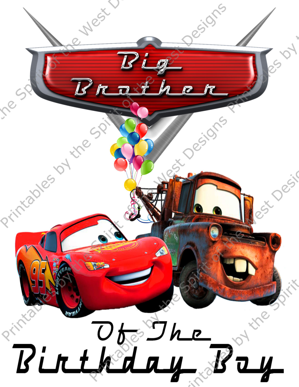 1159x1500 Big Brother Of The Birthday Boy Iron On Lightning Mcqueen Mater