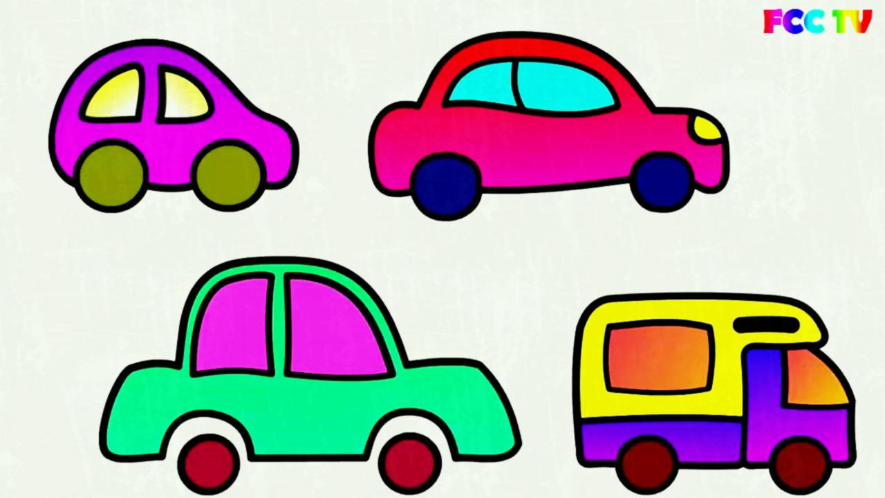 1280x720 X Learn To Draw Set Of Cars Toys Paint Colouring Pages For Kids