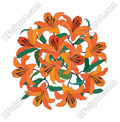 393x400 Lily Bouquet Royalty Free Vector Clip Art Image
