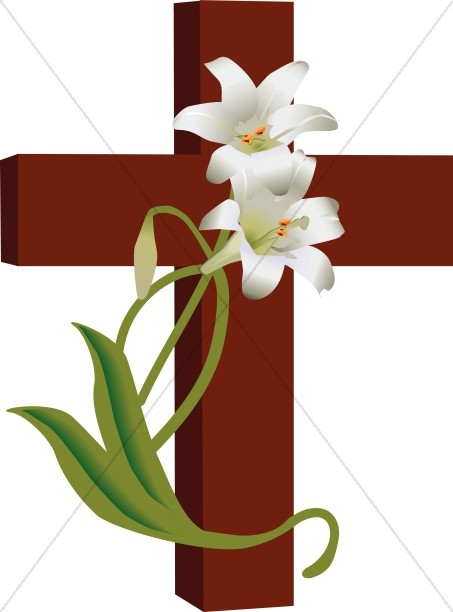 453x612 Cross With Lilies Clipart Cross Clipart