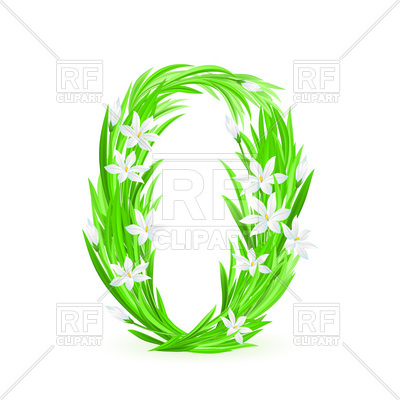 400x400 Grass And Spring Flowers Font Numeral 0 Royalty Free Vector Clip