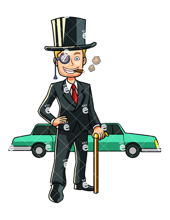 585x755 A Wealthy Man Standing Before A Long Limousine