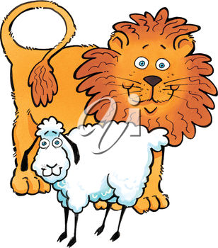 308x350 Clipart Illustration Of A Lamb And A Lion