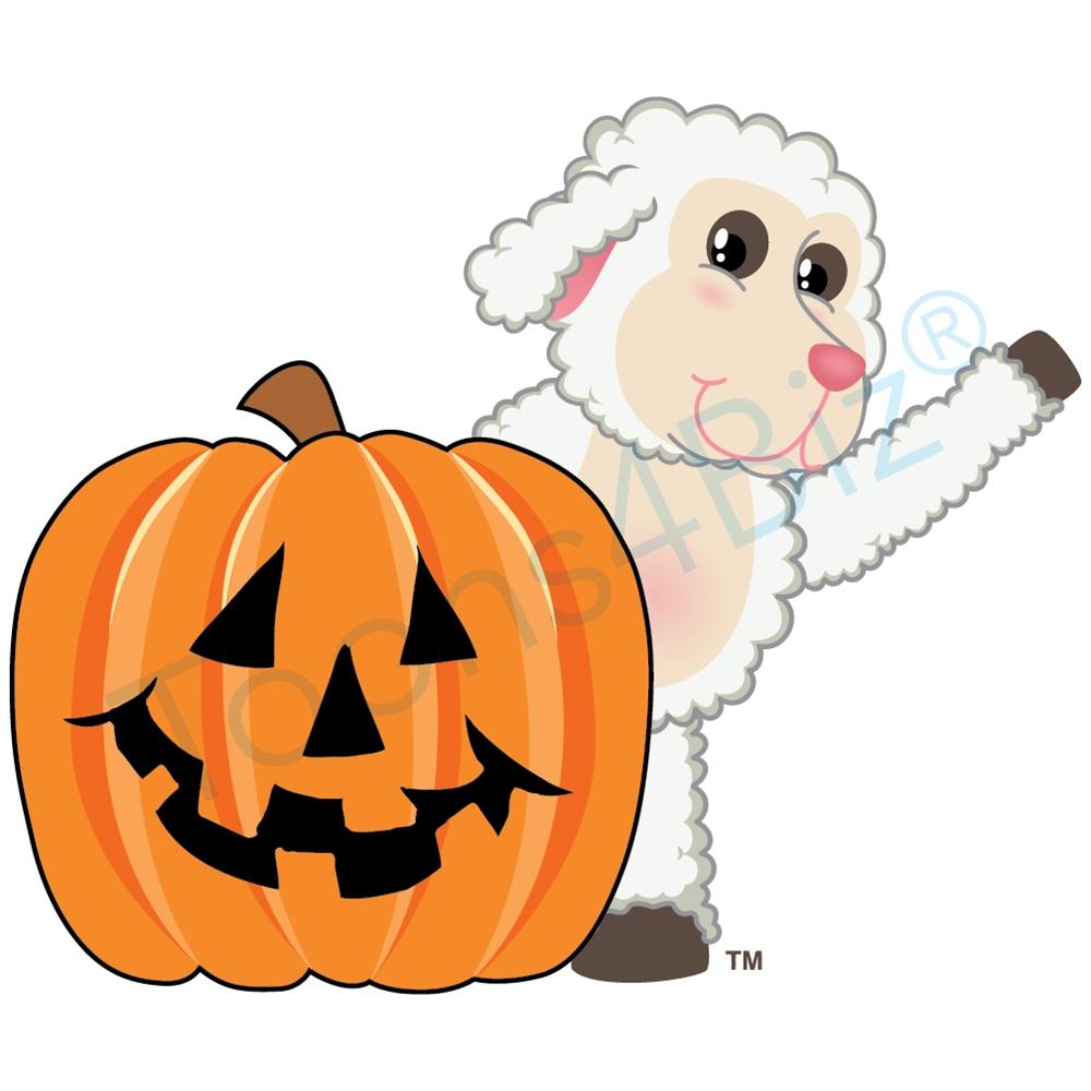 1000x1000 Lamb Mascot Clipart With Halloween Pumpkin