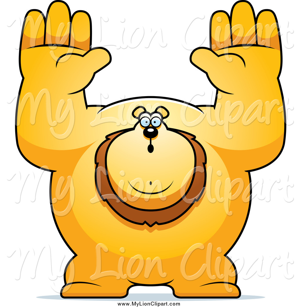 1024x1044 Clipart Of A Buff Lion Giving Up With His Arms In The Air By Cory