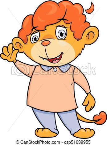 347x470 Little Lion Waving Hand. Illustration Of The Cute Little