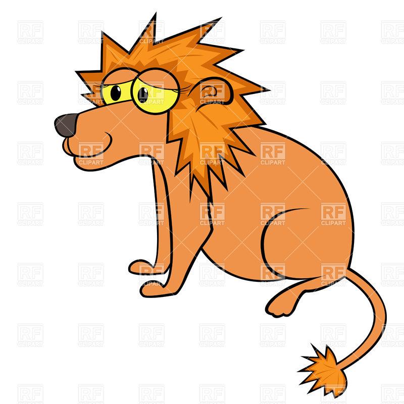 800x800 Simple Sitting Cartoon Lion Royalty Free Vector Clip Art Image
