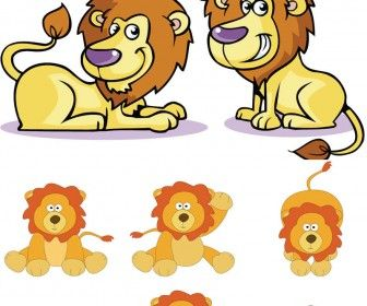 336x280 Cute Cartoon Lions Group