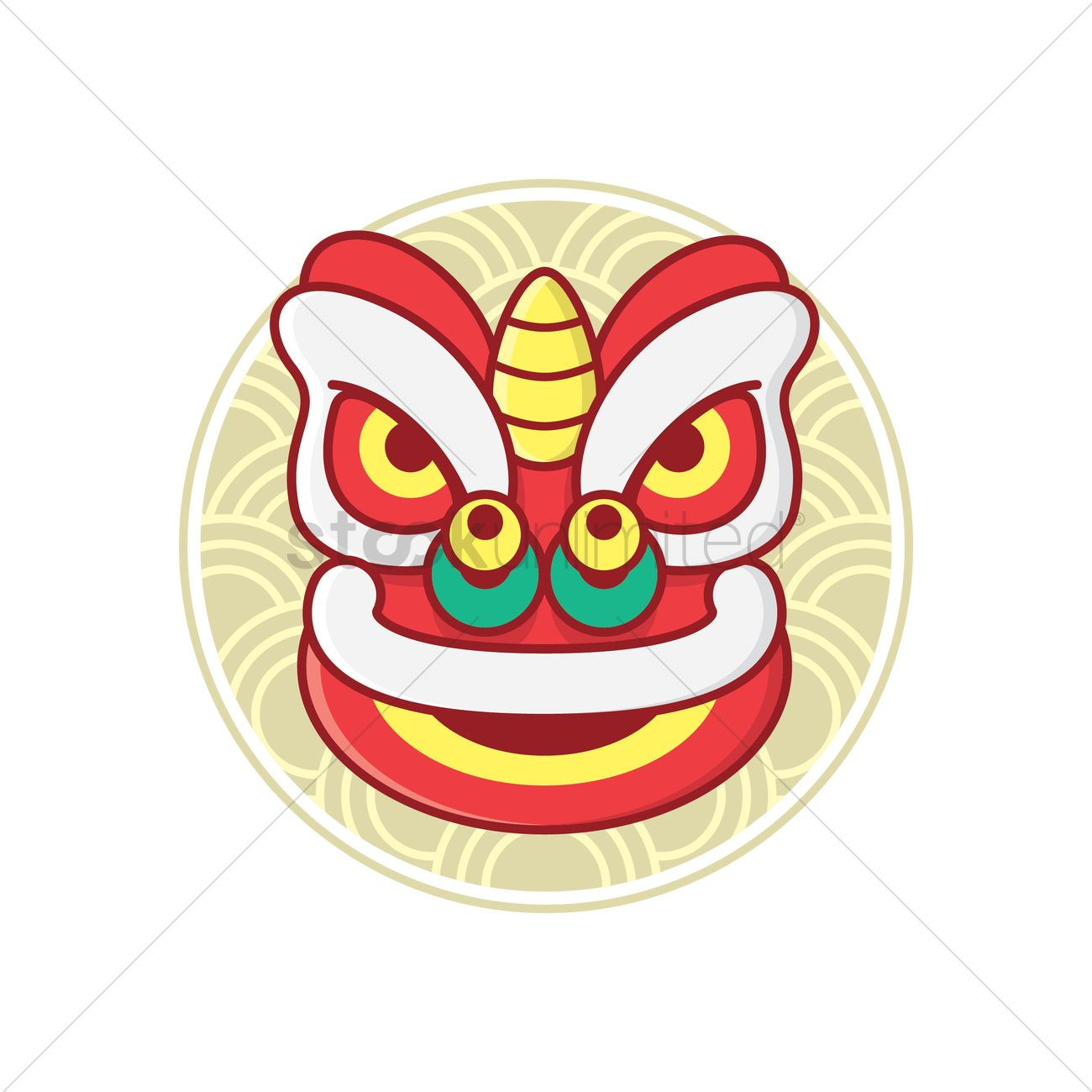 1300x1300 Head Of The Lion Dance Costume Vector Image