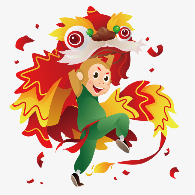 650x651 Monkey Dancing Lion, Monkey, Lion Dance, Cartoon Png And Vector